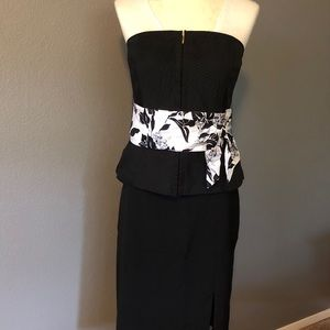 WHBM Black Bustier with White Floral Sash Sz 10